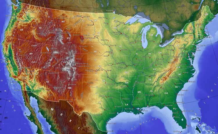 Карты США. Физическая карта США
